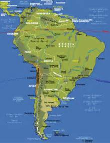 south america physical features map physical map of south america