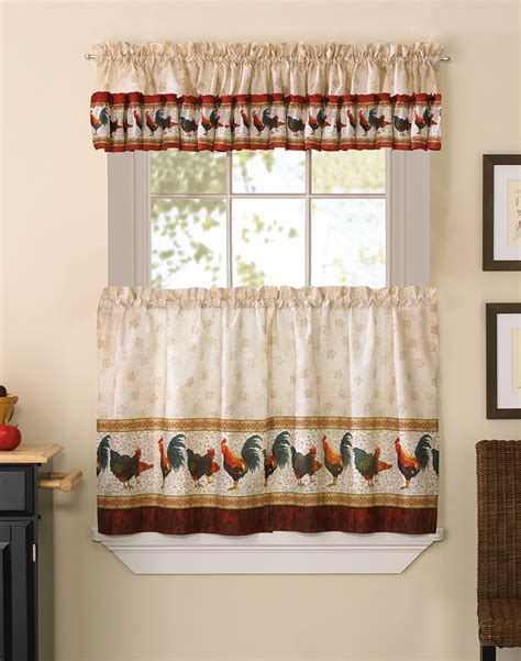 rooster kitchen curtains american country rooster 3 kitchen curtain tier set