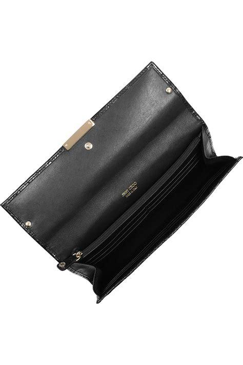 Jimmy Choo Belted Leather Clutch by Jimmy Choo Reese Crocodileeffect Leather Clutch In Black