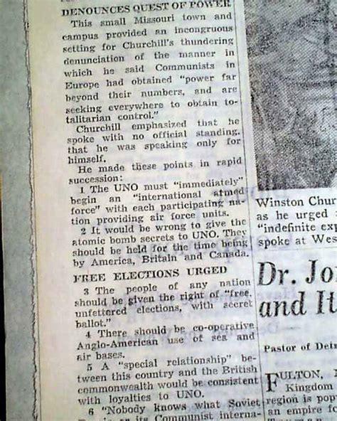 iron curtain speech date winston churchill iron curtain speech fulton mo missouri