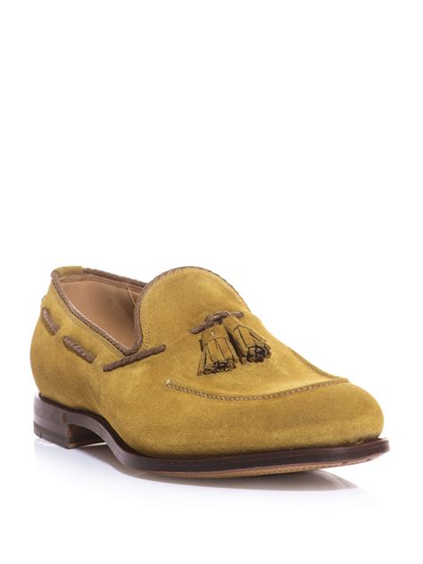 gold tassel loafers gucci tassel front suede loafers in gold for moss lyst