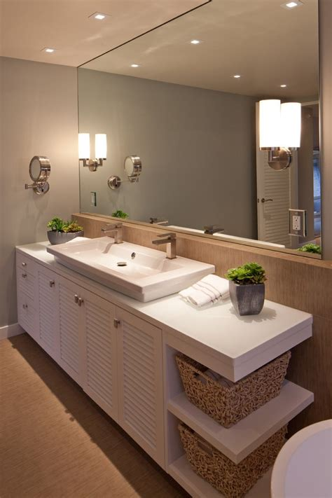 Bathroom Mirrors San Diego San Diego Mirrored Bathroom Vanity With Sink Contemporary Louvered Cabinet Doors White Shade