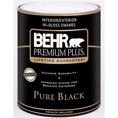 high gloss paint behr premium plus 1 qt pure black hi gloss enamel