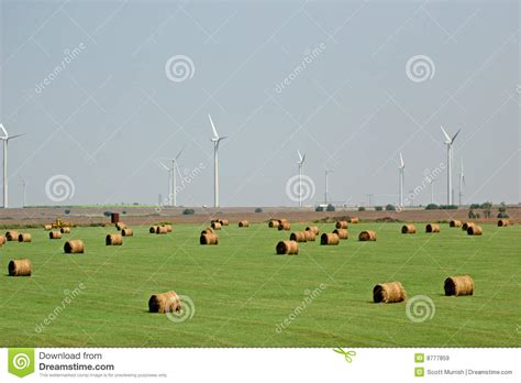 hay and wind farm royalty free stock images image 8777859