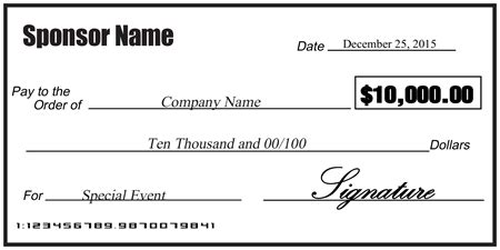 Blank Sponsorship Check Signazon Presentation Cheque Template Free