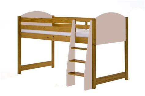 mid sleeper cabin bed solid pine pink single frame