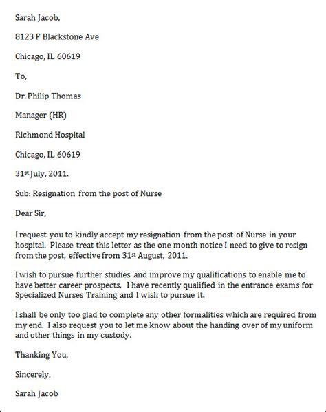 nursing resignation letter template 6 free word excel pdf