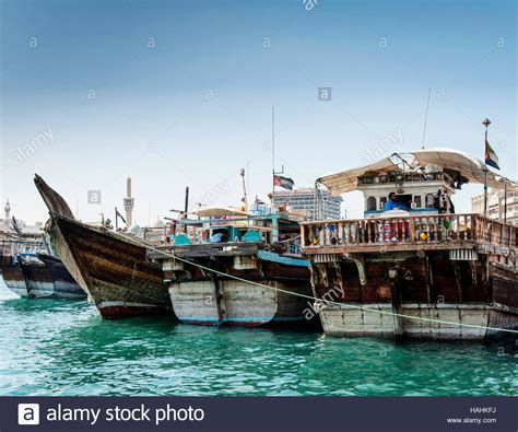 old boat uae traditional old arabian wood dhow boats in deira harbour