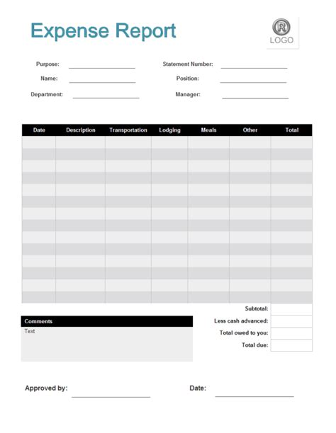 free expense report template free business template