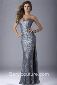sheath strapless sweetheart royal blue sequin prom dress