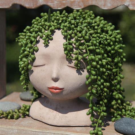 female head design succulents plant potcactus planter