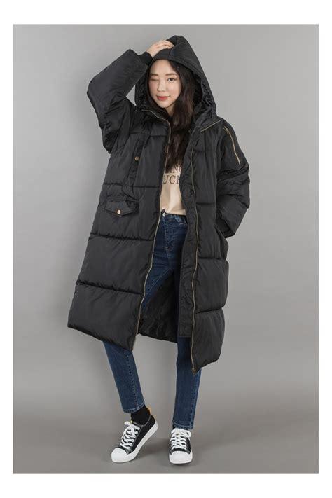 Jaket Parka Korean Style black hooded puffers coats womens winter wear clothes