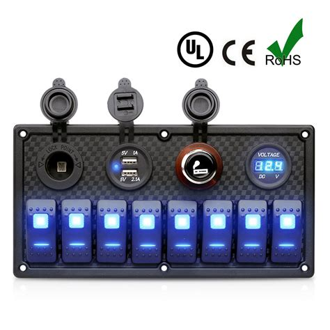 marine switch panel with usb 8 gang led rocker switch panel double usb charger digital