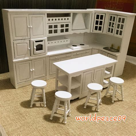 Miniature Dollhouse Kitchen Furniture Dollhouse Miniature White Integrated Kitchen Furniture Set 1 12 Scale Model Ebay