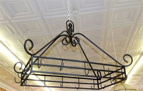 Pot And Pan Ceiling Holder Vintage Black Iron Pot Pan Holder Rack Hanging Ceiling