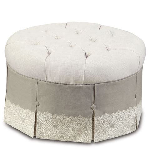 white round tufted ottoman luxury bedding by eastern accents ledge white round ottoman