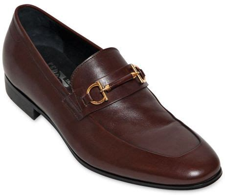 Salvatore Ferragamo 9999 ferragamo platino bit leather loafers in brown for