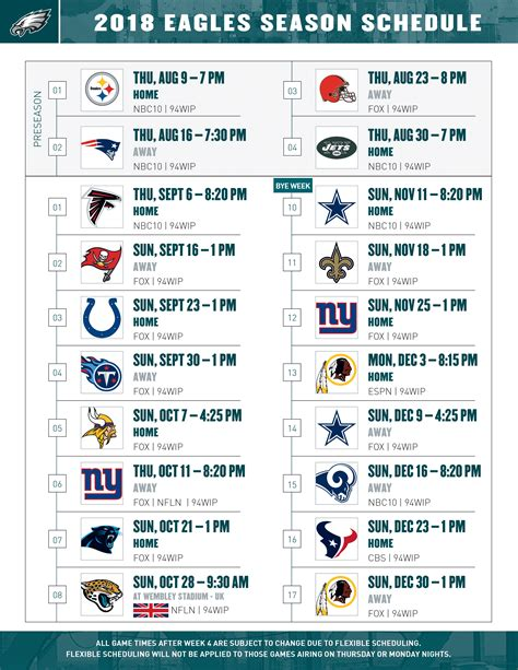Monday Football Schedule 2018 Printable