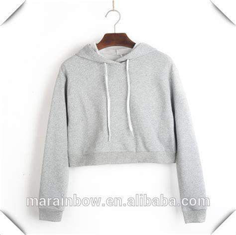 fashion custom grey plain womens crop top hoodie wholesale navy blue blank crooped pullover