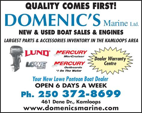 boat mechanic kamloops domenic s marine ltd opening hours 461 dene dr