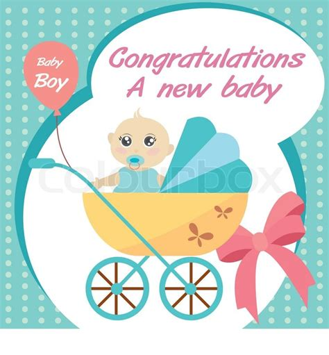 baby born card template vector card new born baby boy stock vector colourbox