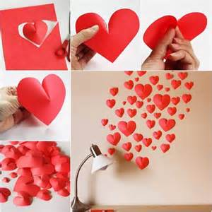 paper hearts to decorate the wall art and creativity