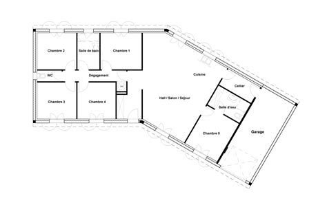 Plan Maison En V 4804 by Plan Maison V Garage