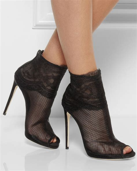 Net Heels dolce gabbana lace trimmed net ankle boots shoes post