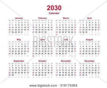 yearly calendar vector photo  trial bigstock