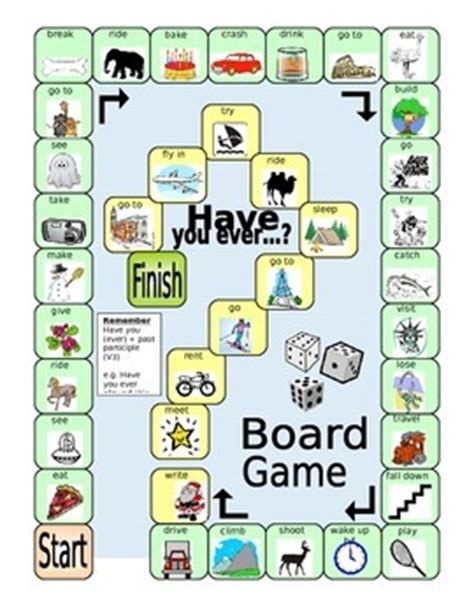 printable board games for elementary students esl board game have you ever present perfect efl