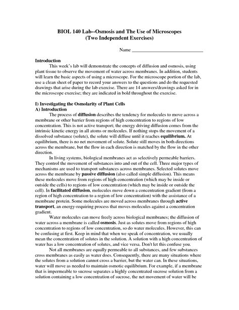 The Biology Of Osmosis Jones Worksheet Answers by 17 Best Images Of Osmosis Worksheet Answers Osmosis And