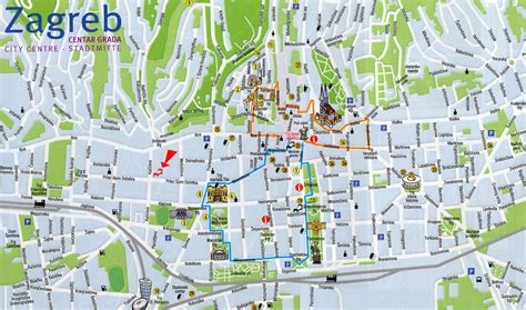 Printable Street Map Of Zagreb | zagreb croatia tourist map zagreb croatia mappery