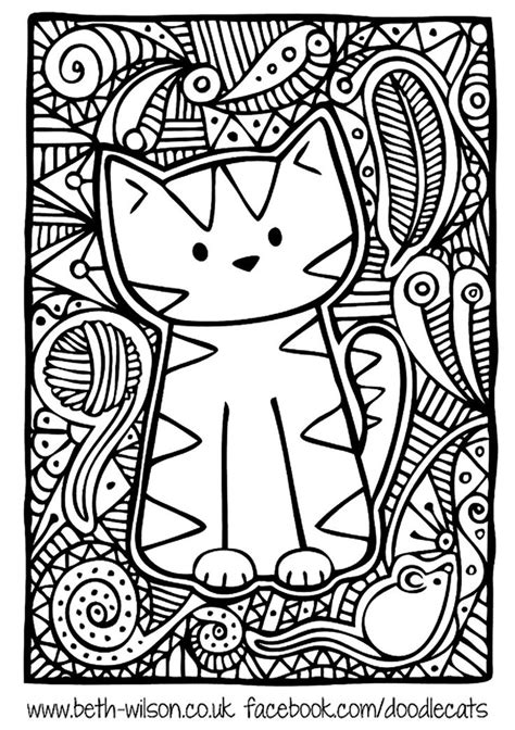 free coloring page 171 coloring adult difficult cute cat