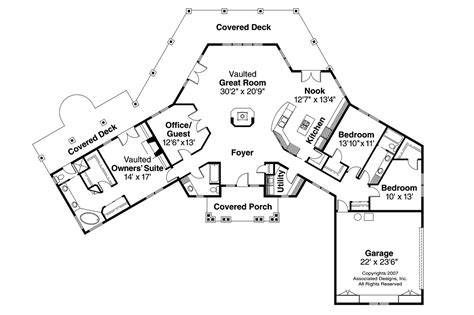 Floor Plan With Perspective House by Craftsman House Plans Oceanview 10 258 Associated Designs