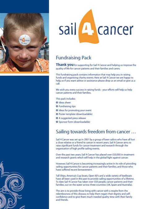 How Can You Help Sail 4 Cancer Fundraising Pack Template