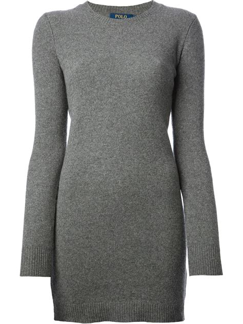 ralph knitted polo lyst polo ralph patch knitted dress in gray