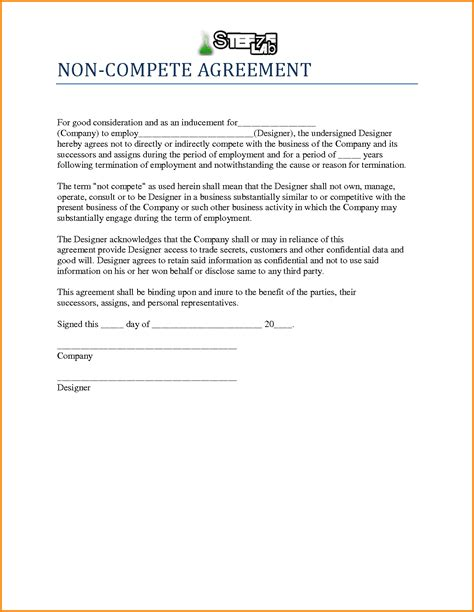 non compete template 10 non compete agreement sle letter template word