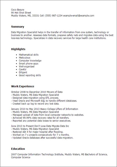 Data Management Specialist Cover Letter by Professional Data Migration Specialist Templates To Showcase Your Talent Myperfectresume