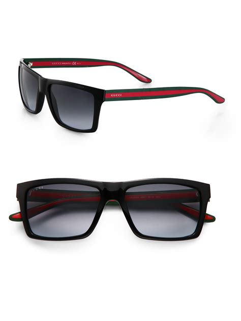 gucci shades for gucci rectangular sunglasses in black for lyst