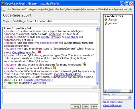 Chat Rooms by Embarcadero Chat System User Guide