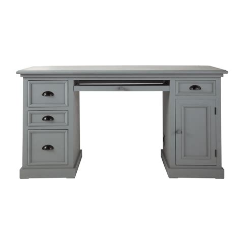wooden desk in grey w 150cm newport maisons du monde