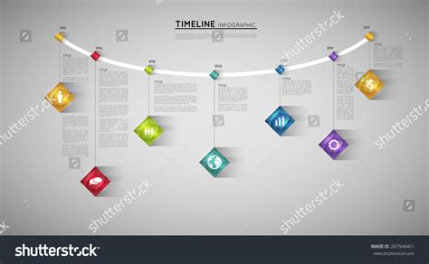 flat design effect timeline infographic template colorful square crystals