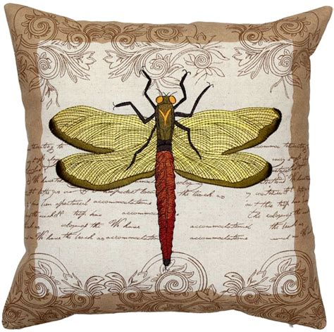 embroidered dragonfly throw pillow 18x18