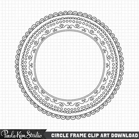 doodle fit circle of clip circle frames borders instant digital