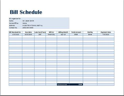 Payment Schedule Template Excel by Bill Payment Schedule Template Word Excel Templates