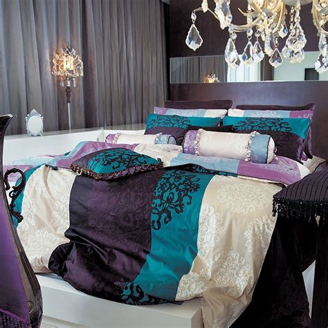 purple and turquoise bedroom amazon com 820tc turquoise purple damask duvet cover