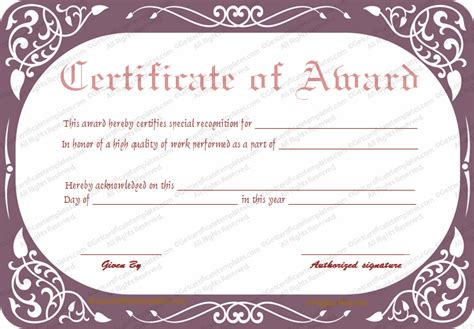 best performance certificate template best work performance award certificate template