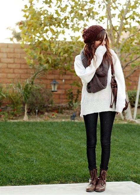 cute casual outfit idea  leggings combat boots  scarf