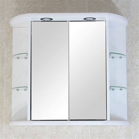 Bathroom Wall Cabinet Mirror Bathroom Wall Mirror Cabinet White D Door Ext Shelves Light Soc Bcrowcs Ebay