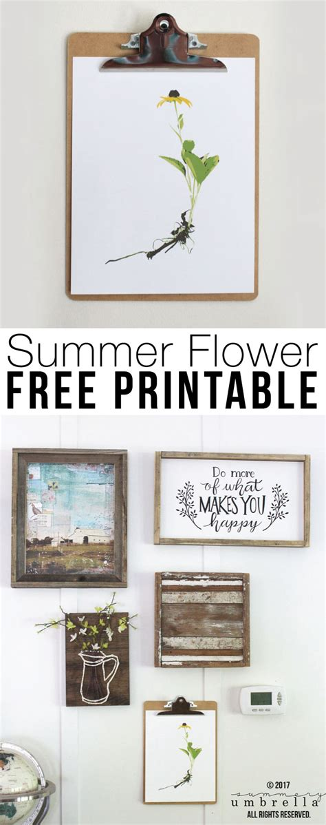 free printable summer wall art free summer flower printable wall decor the summery umbrella